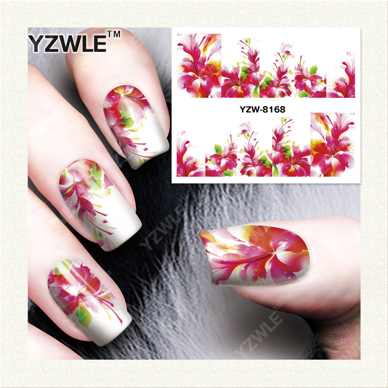 YZWLE 1 Sheet DIY Nails Art Decals Water Transfer Printing Stickers For Manicure Salon YZW-8168