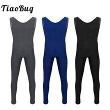 Tiaobug 성인 원피스 스쿠프 넥 민소매 스킨 타이트 솔리드 컬러 남성 발레 체조 unitards fitness bodysuit dancewear