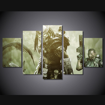 Unframed 5 Panel Wall Art Canvas Painting Alien Wars Alien Game Poster Home Decor Wall Pictures For Living Room Modular Pictures