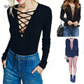Sexy Women Elastic Short Jumpsuit Deep V-Neck Lace Up Rompers Womens Jumpsuit Slim Tops Long Sleeve Bodysuit Combinaison Femme