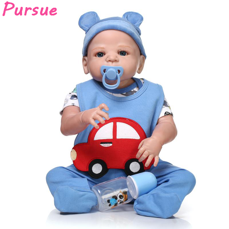Pursue Doll Reborn Babies Full Body Silicone Reborn Dolls for Girls Boys Toys Baby Doll bebe reborn com corpo de silicone 22inch