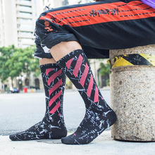 Male Tide Personality Marbling Stripe Tall Tube Cotton Crew Sock Cool Skateboard Socks Autumn And Winter