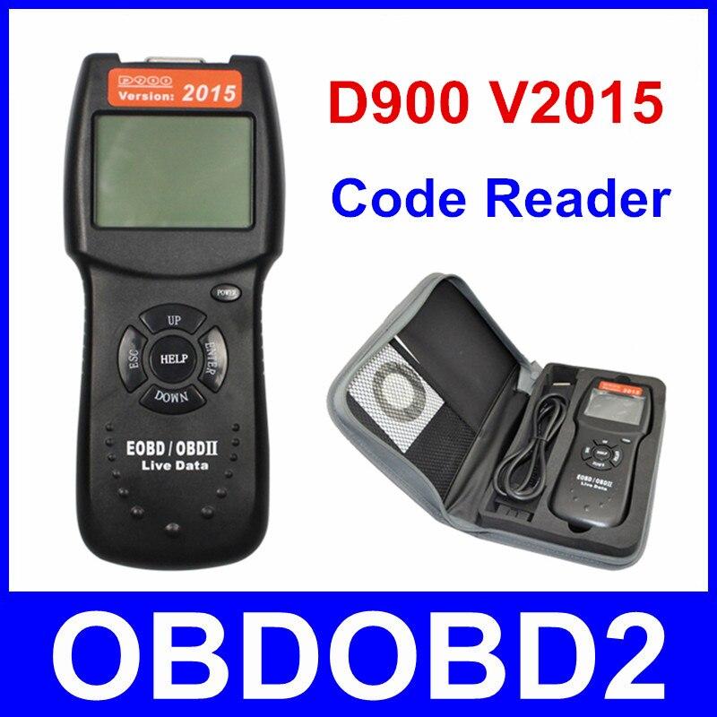 Цена за Универсальный V 2015 D900 Code Reader OBDII EOBD сканер 2015 Последние могут-bus оперативные данные DTC OBD проверьте Двигатели мультибрендовый Автомобили