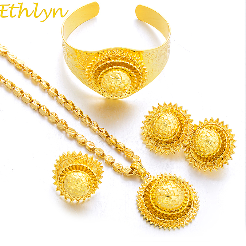 Ethlyn New Big Ethiopian Gold Color Women Jewelry Sets With Ethiopian Handmade Chain Jewelry Sets Eritrea Items S185