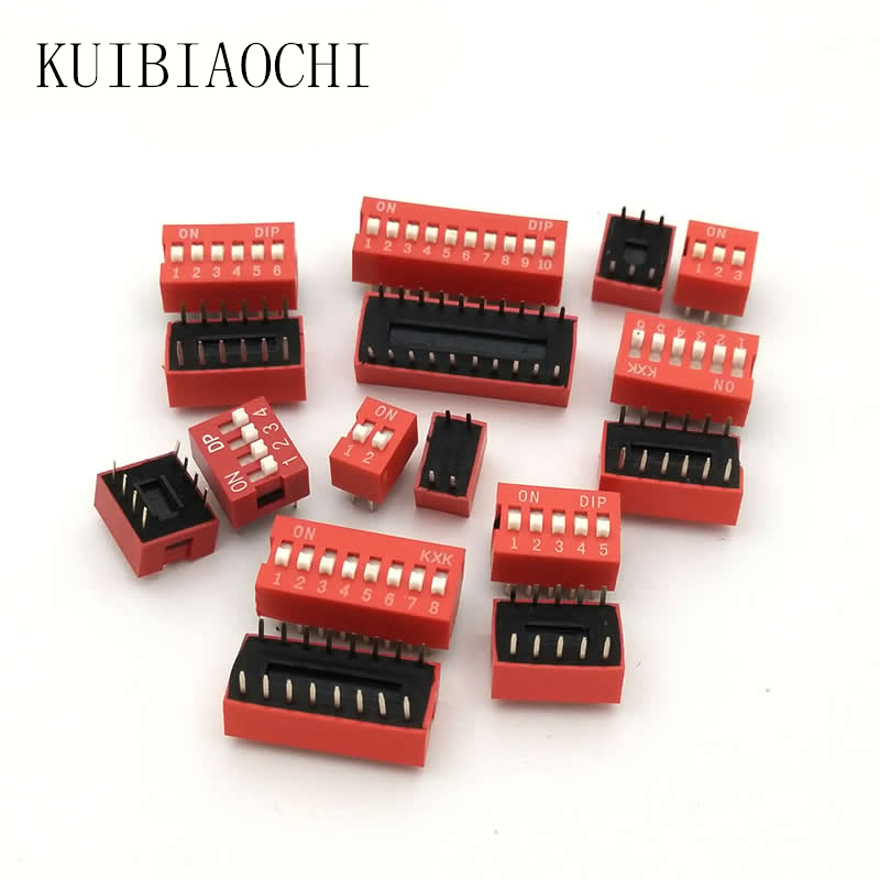 10pcs/lot DIP Switch Slide Type Red 2.54mm Pitch 2 Row DIP Toggle switches Dial switch 2p 3p 4p 5p 6p 8p 10p 10pcs lot a2531 dip 8 optical coupler oc optocoupler