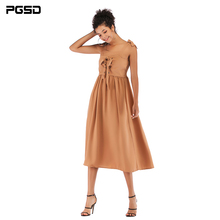 PGSD New Simple Fashion Women Clothes frenulum Butterfly knot sling pure color chiffon pendulum Loose Medium length Dress female