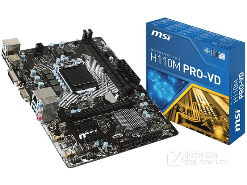 Бесплатная доставка оригинальный материнская плата для новых MSI H110M PRO-VD LGA 1151 DDR4 USB2.0 USB3.1 32 ГБ SATA3 рабочего Материнская плата