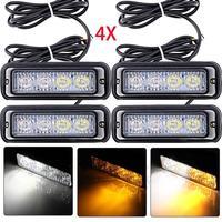 100% new 4 PCs 12.5x3x3.5cm Waterproof Car Truck Accessory 4 LED Strobe Flash Amber Light Lamp Bulb 12 volt DC Low power 4W