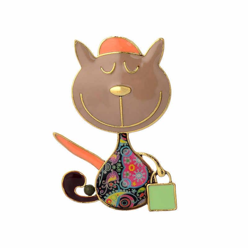 Цинковый сплав кошка и сумочка Броши Милая эмаль брошь заколки интимные аксессуары для мужчин женщин 2019 Новое поступление модные украшения