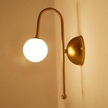 Design Glass Led Wall Lamp Sconce Modern Bedroom Kitchen Stair Living Room Wall Lights Decor Home Lighting Gold Iron G4 110-220V