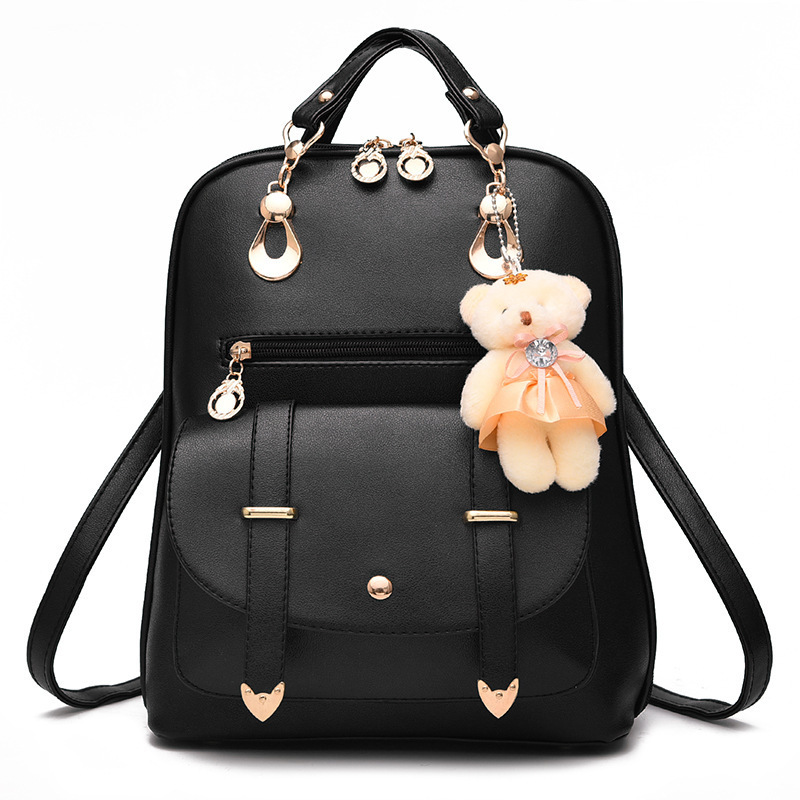 MALLRAT Fashion Girls Backpack PU Leather 7 Colors Fashion Women Backpack School Travel Bag With Bear