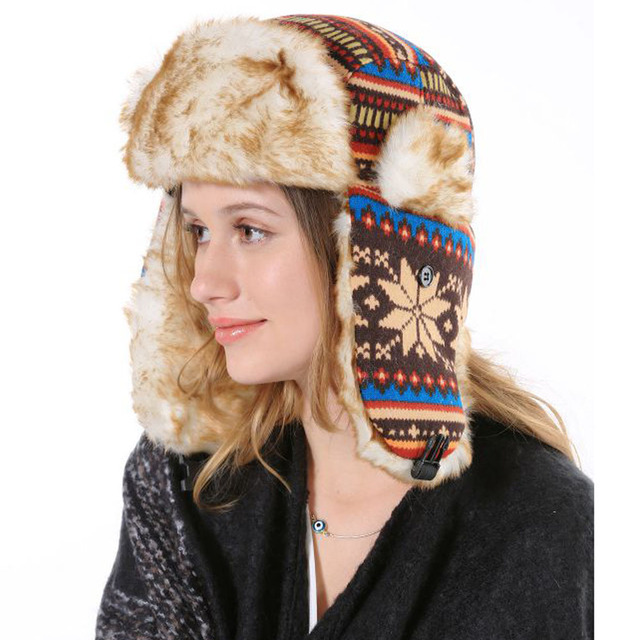 2015 New Arrival Cheap Female Merry Christmas Gift Bamber Cape Ear Flap For Outdoor Women Winter Russian Ushanka Hats With Fur