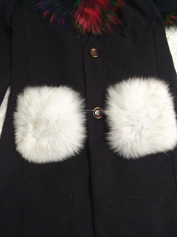 New arrival lady parka pocket fur decoration natural blue fox garment accessory 2pcs/pair detachable