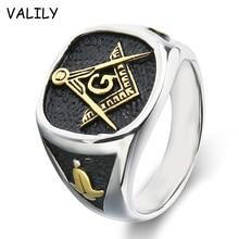 Valily золотые украшения Цвет масонских Кольца Нержавеющаясталь модные масоном перстень для Для мужчин Bague палец Группа Серебряное кольцо