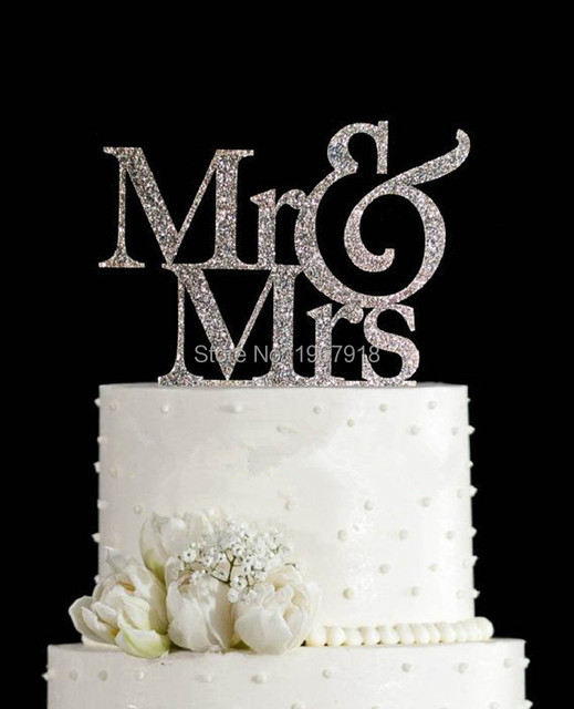 Free Shipping Glitter Silver Mr Mrs Wedding Cake Topper Gold