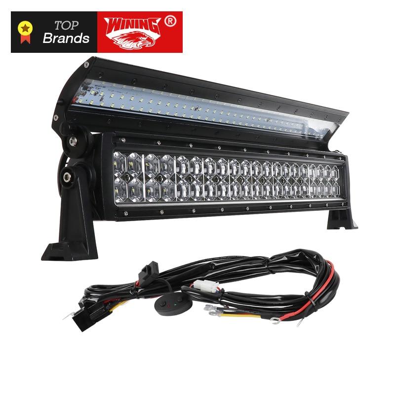 WINING Novos 6D tampa Articulada Dupla Fileira de LED Light Bar para Offroad Car 4WD 4x4 Do Reboque Do Caminhão SUV ATV Ponto Flood Combo Trabalho LED Light