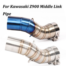 51mm Motorcycle Exhaust Muffler Modified Middle Connection Link Pipe Slip on For Kawasaki Z900 2017 2018