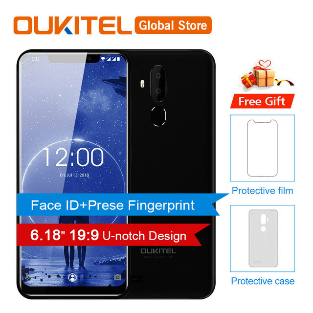 "OUKITEL C12 Face ID 6.18"" 19:9 Android 8.1 3300mAh Smartphone MTK6580 Quad Core 2GB RAM 16GB ROM Fingerprint Mobile Phone Unlock"
