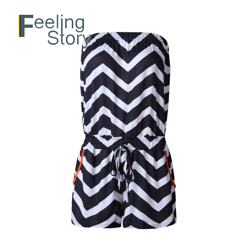 Striped Loose Playsuits  2020 Summer Rompers Womens Jumpsuit Shorts Bodysuit Casual Beach Slash Neck Elegant Overalls One Piece