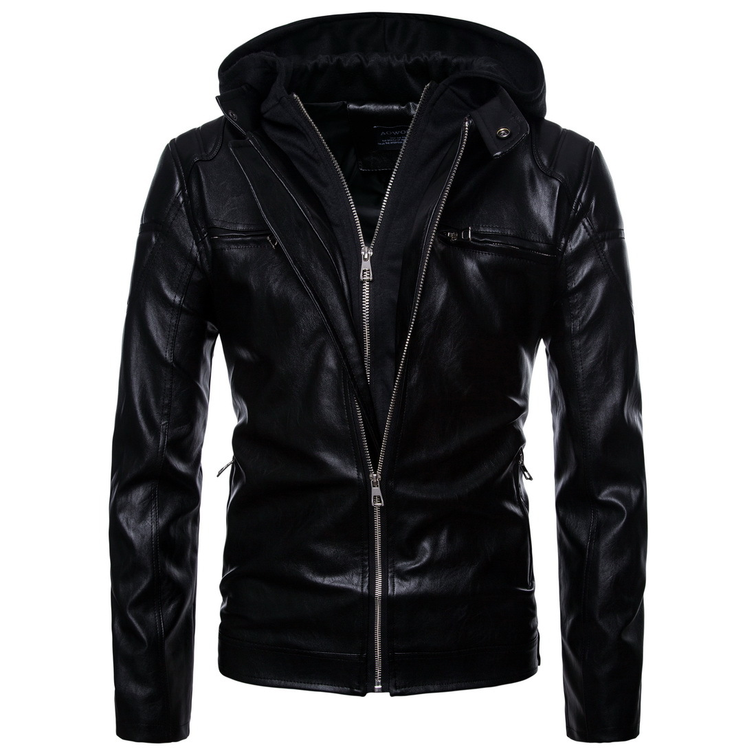 Men Locomotive Leather Jackets Mens Hoodie PU Coat Jaqueta De Couro Masculina Fashion Designer Slim Leather Outwear