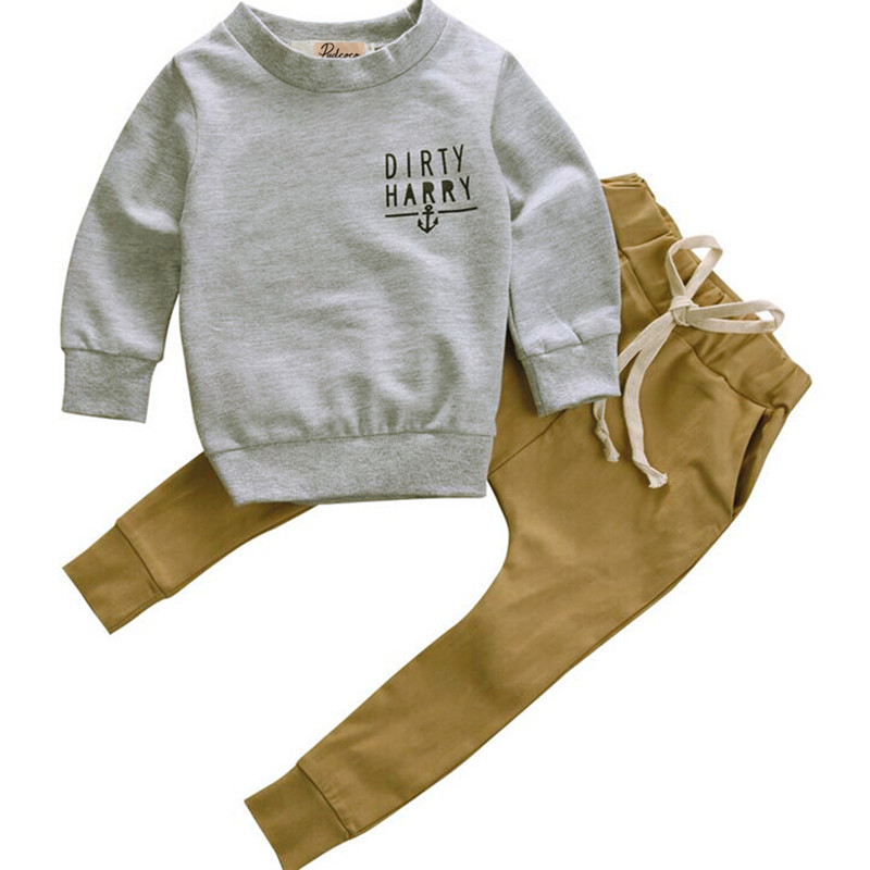 Kids Boys Winter Clothes Set Newborn Toddler Kids Baby Boy Clothes T-shirt Hoodie Tops+Long Pants Outfits Set 2pcs 0 24m newborn infant baby boy girl clothes set romper bodysuit tops rainbow long pants hat 3pcs toddler winter fall outfits