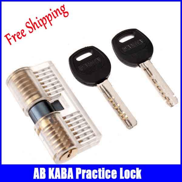 Nouveau Transparent coupe pratique 7 Pins laiton deux fin de verrouillage pratique serrure avec clés outils de serrurier