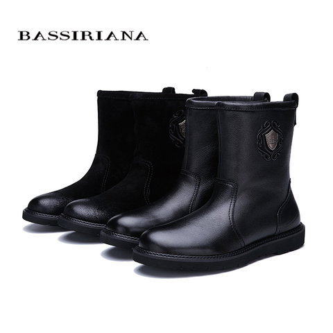 BASSIRIANA new warm genuine leather shoes men snow ankle boots winter round toe slip-on soft nature wool black suede size 39-45 Islamabad
