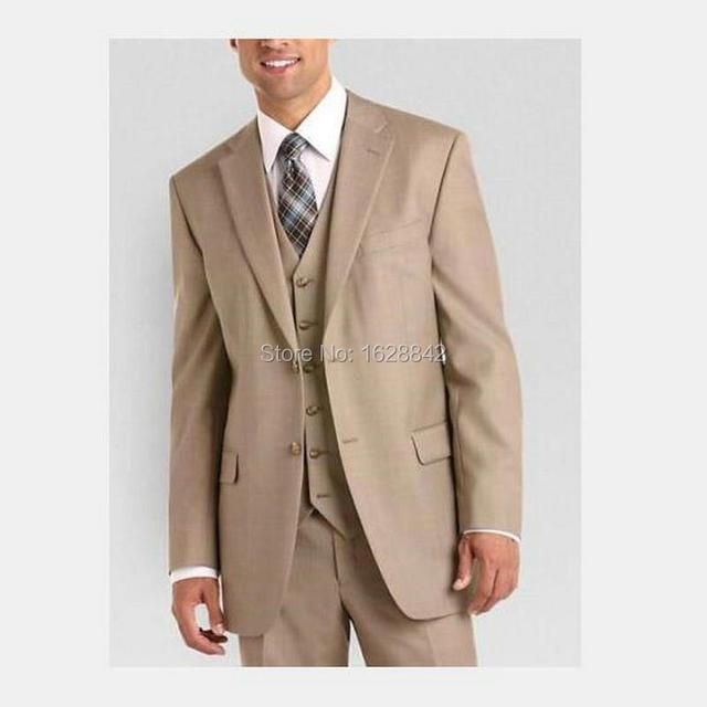 Champán romántico Trajes de Boda Para Hombres 3 Pedazos de La Chaqueta + Chaleco + Pantalones de Un Solo Pecho Dos Botones Traje Homme Plus tamaño Terno