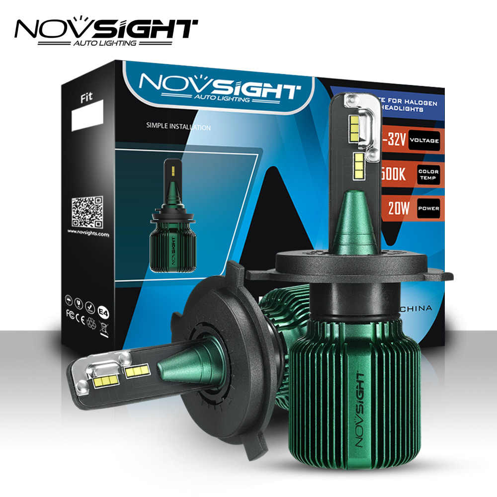 NOVSIGHT H4 LED Mini fanless led H7 headlight bulbs 40W 10000LM lamp H8 H9 H11 H13 HB3 9005 9006 hb4 9007 Car light 12v 6500K