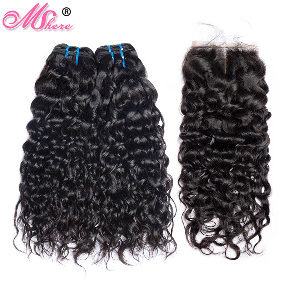 Mshere Water Wave Bundles With Closure Brazilian Hair 3 4 Bundles With Lace Closure Non Remy