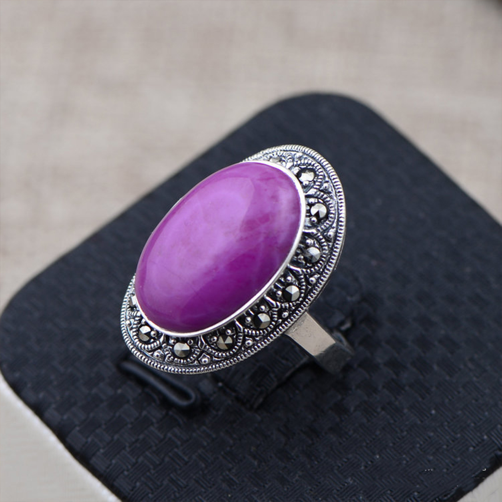 MetJakt Elegant Vintage Natural Sugilite Rings Solid 925 Sterling Silver Ring with Zircon for Women Party