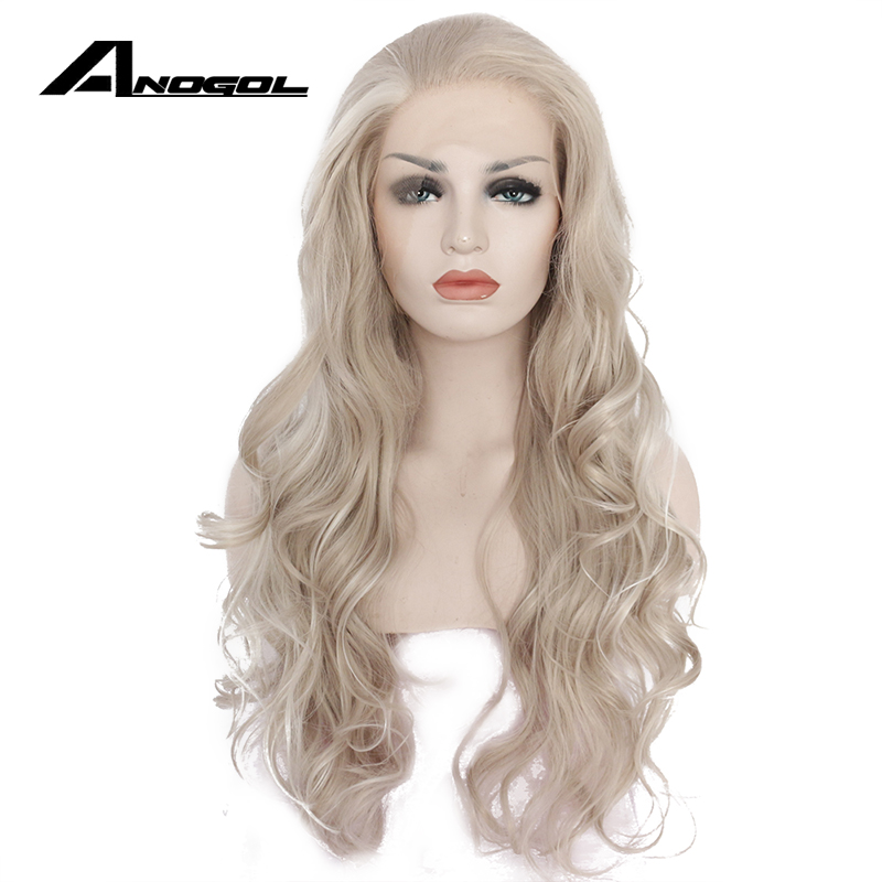 Anogol High Temperature Fiber Perruque Frontal Wigs Silver Grey Long Body Wave Synthetic ...