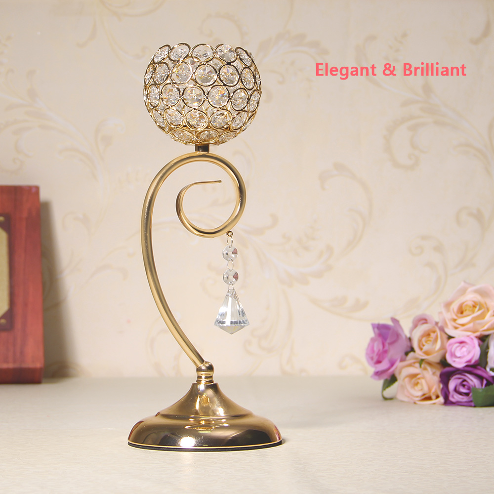 Gold / Silver Crystal Candle Tealight Holders for Wedding Floor ...