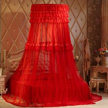 Dosel-mosquitera colgante de encaje doble para tienda, cortina redonda de malla, textil...