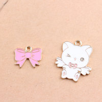 Wholesale 40PCs Lot Pink Ribbon Bow Pendant Charm Craft Kawaii Flying Animal Cat Drop OIl Enamel
