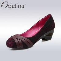 Odetina Mature Ladies Round Toe High Strange Heels New Designer Rattan Plaited Sexy Lace Pumps Fashion