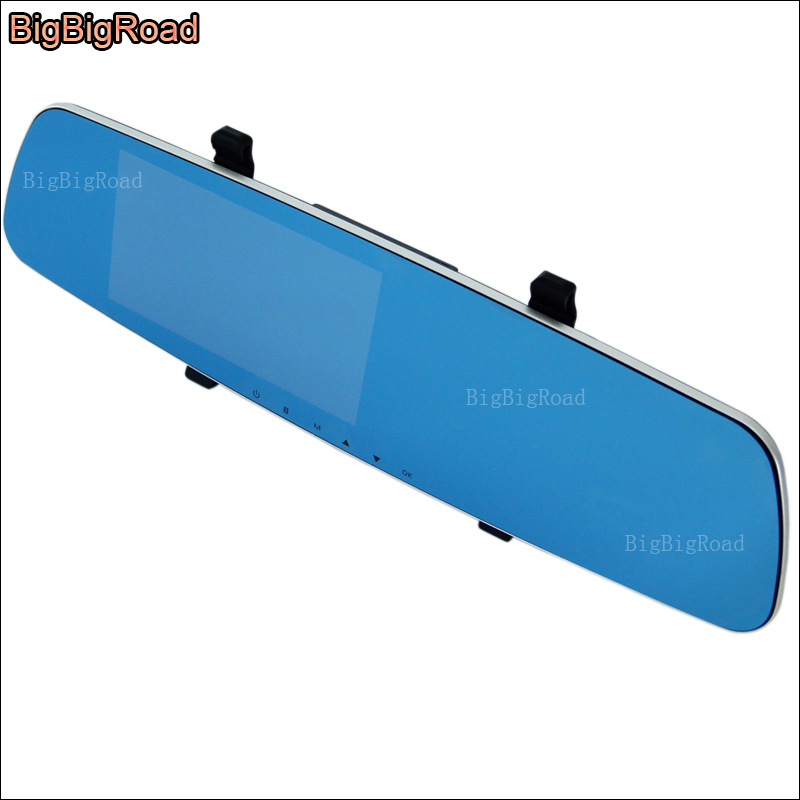 BigBigRoad For Peugeot 2008 3008 4008 5008 Car DVR Blue Screen Rearview Mirror Video Recorder Dual Camera 5 INCH night vision bigbigroad for peugeot 3008 app control car wifi dvr dual camera video recorder night vision car black box wdr car dash camera