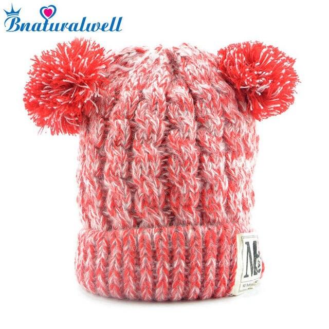 3128842a3dea Bnaturalwell Enfants Chapeaux D hiver Pompon Chapeau Garçons Filles Bonnet  Tricoté Chaud Épais Enfants Bonnets
