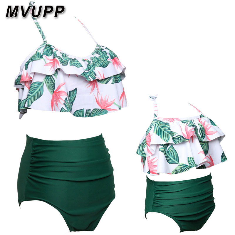 HTB17.tIaLfsK1RjSszbq6AqBXXaU mother daughter swimsuit family matching outfits swimwear mommy and me clothes mom baby bikini mama look high waist summer