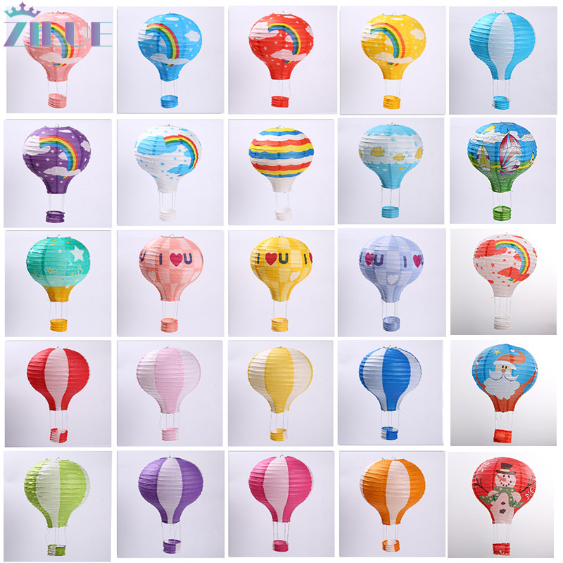Zilue 1pcs Rainbow Lantern Hot Air Balloon Paper Lantern Kids Birthday Party Wedding Decor 27 Colours Lantern 12''30cm/16