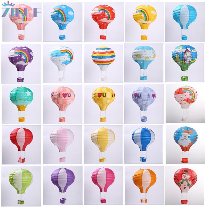 12 30cm Rainbow Hot Air Balloon Paper Lantern Kids Birthday Party Wedding Decor Colour