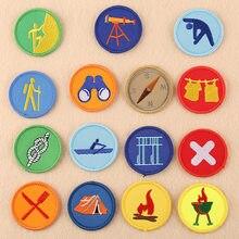 Patches bordados de ferro na roupa, de acampamento de verão, adesivos de braço tático, listrados, acessórios de emblema para menino
