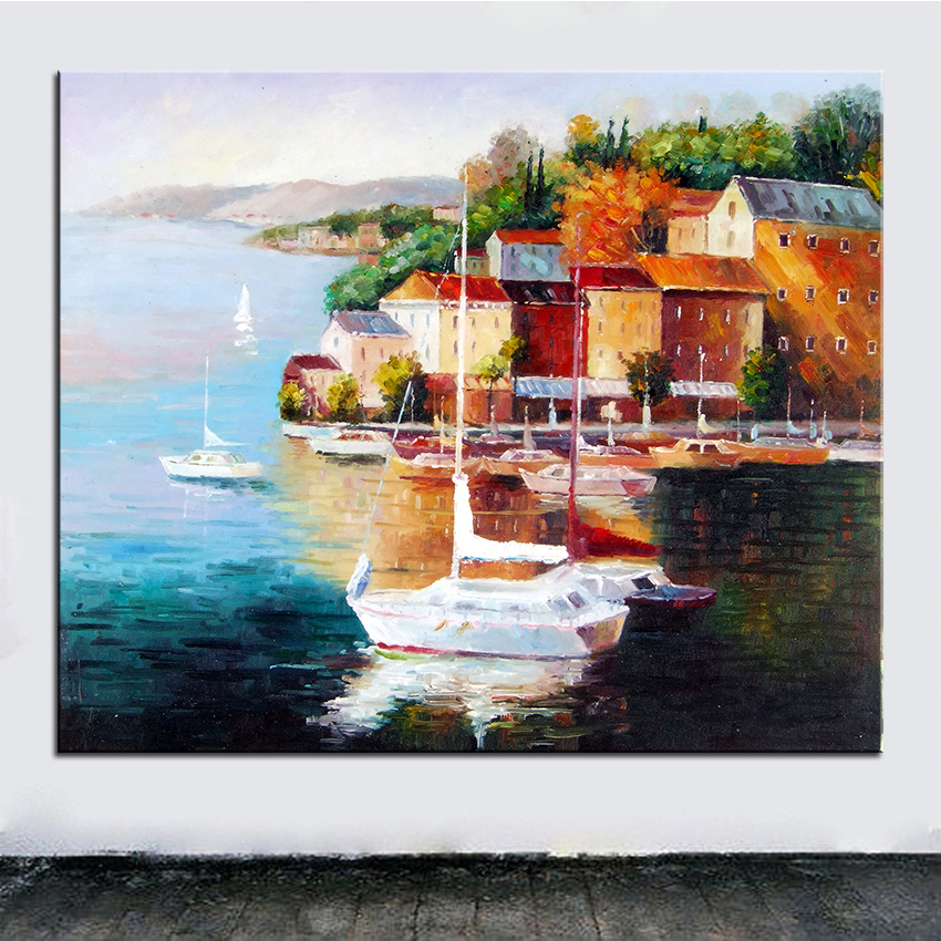 Extra Large Wall Painting Of Yellow House Home Office