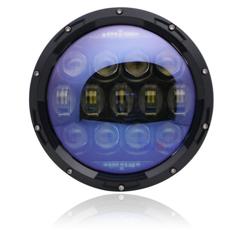 1 pièces 130W 7 pouces rond moto phare LED H4 avec Halo blanc Angel Eyes pour moto 7 pouces phare LED.