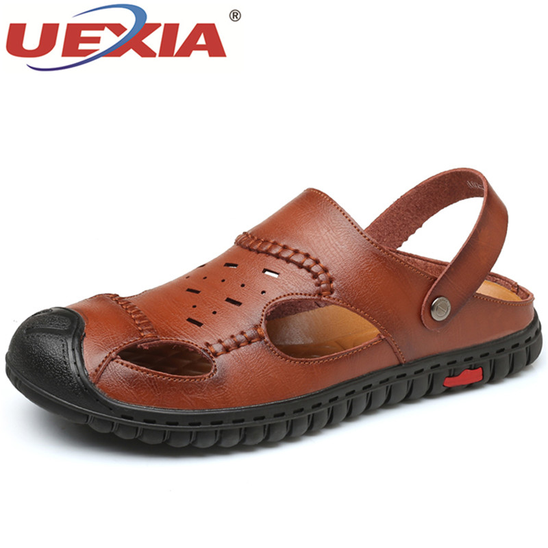 UEXIA Для мужчин s пляжные сандалии 2018 новые летние мягкие Для мужчин; повседневная обувь 2018 мужские сандалии новая дышащая прогулочная Туфли ...