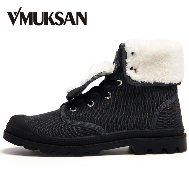 VMUKSAN Winter Ankle Boots Fashion Canvas Shoes Men Boots High Top 2017 New Military Boots Rubber Men Shoes
