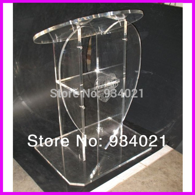 Transparent Acrylic Podium With Heart Shaped Front Conference Lectern Podium