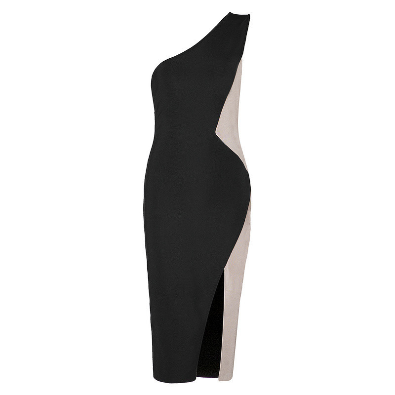 Côté Bandage Manches Fente Mode Patchwork Femmes Robe Black Sans Moulante rWCBoexd