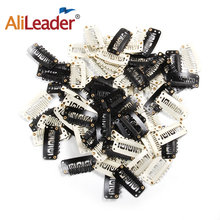 AliLeader 20 PCS Black Stainless Steel Wig Clips Combs Snap with Rubber for Hair Extension Toupee DIY 6 Teeth Snap-Comb