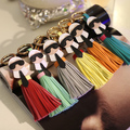 New Arrival High Quality Multicolor PU Leather Tassel Keychain Monster Key Chain Car Key Ring Women Bag Accessories